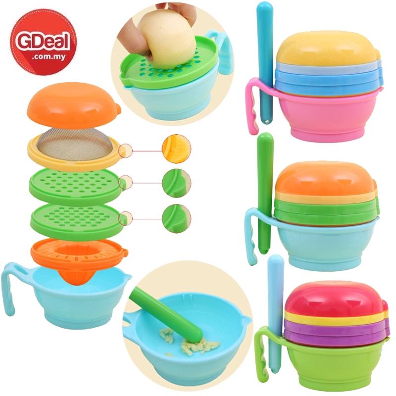 GDeal Baby Food Grinder 9pcs Set Food Supplement Grinding Set Baby fruit And Vegetable Grinding Bowl Conditioner