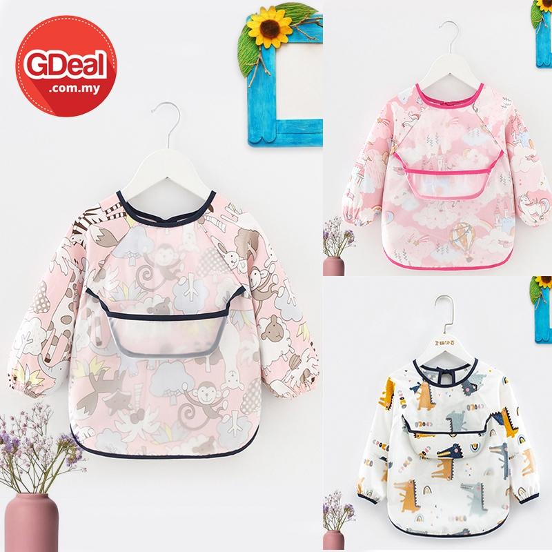 GDeal Waterproof Baby Kid Bib Protective Clothing Long Sleeve Cloth For Eating And Painting Baju Bib