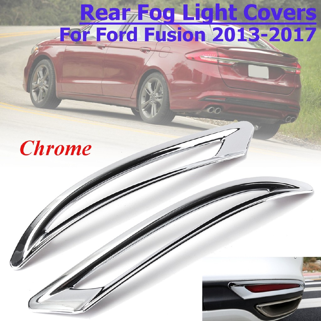 Pair For 2013-2018 Ford Fusion Mondeo Chrome ABS Rear Fog Light Lamp Cover Trim