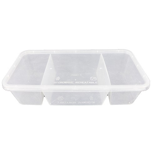 [3sets / pack ] Ecohouse 3 Compartment Microwave Lunch box (1300TC)