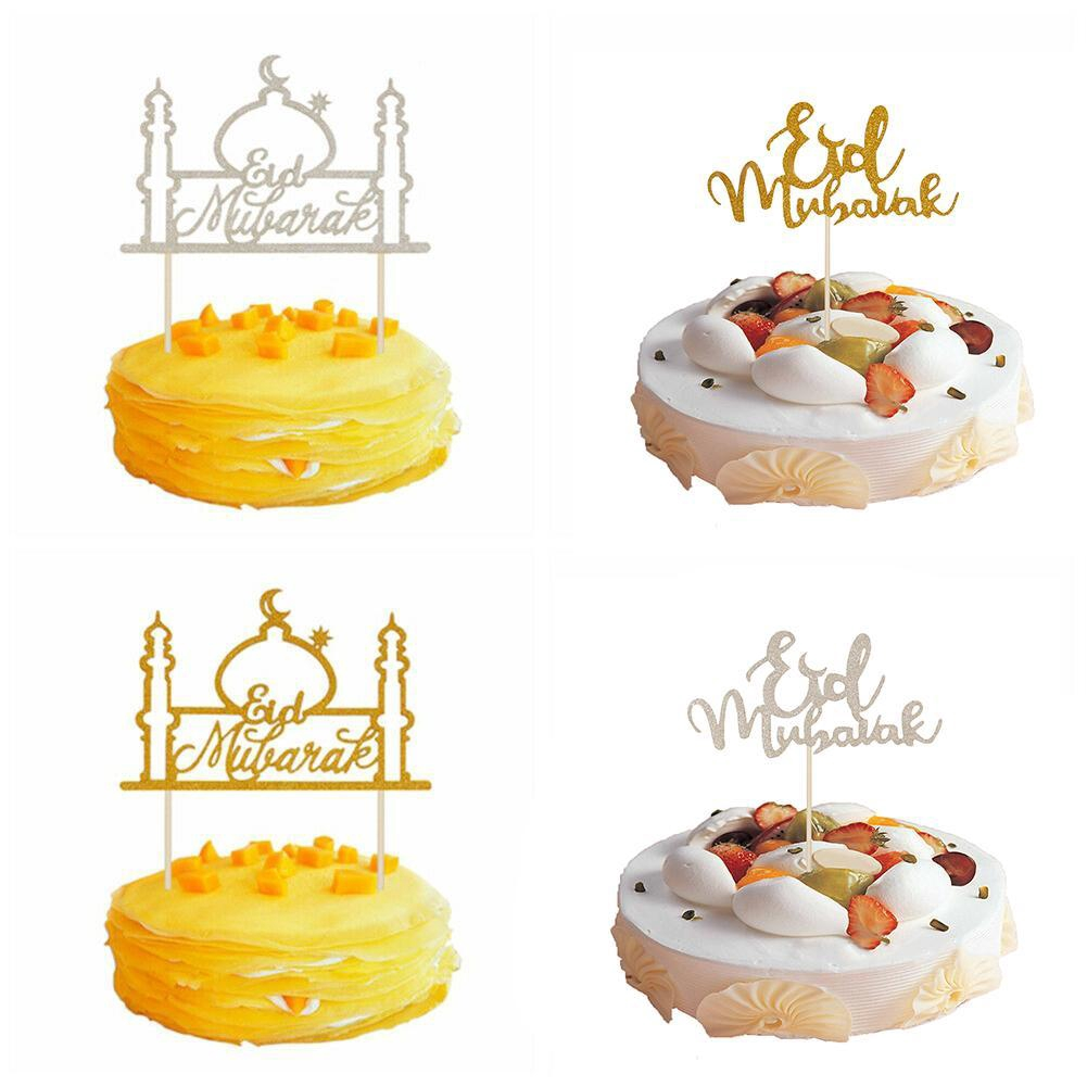 Eid Mubarak Ramadan Cake Toppers Gold Glitter Hajj Mubarak DIY Cake Decor Topper
