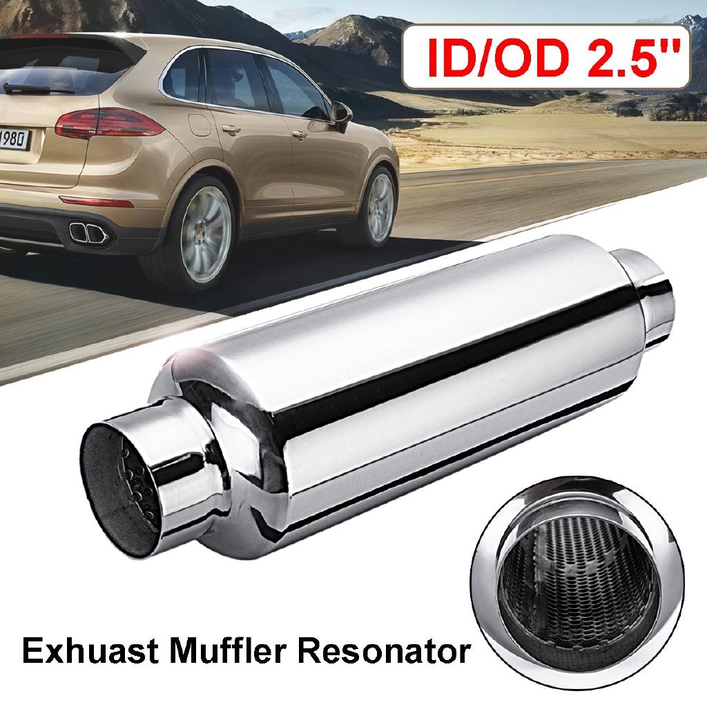 "Exhaust Muffler Tips Pipe Silencer 2.5/"" Inlet Stainless Steel Racing Resonator"