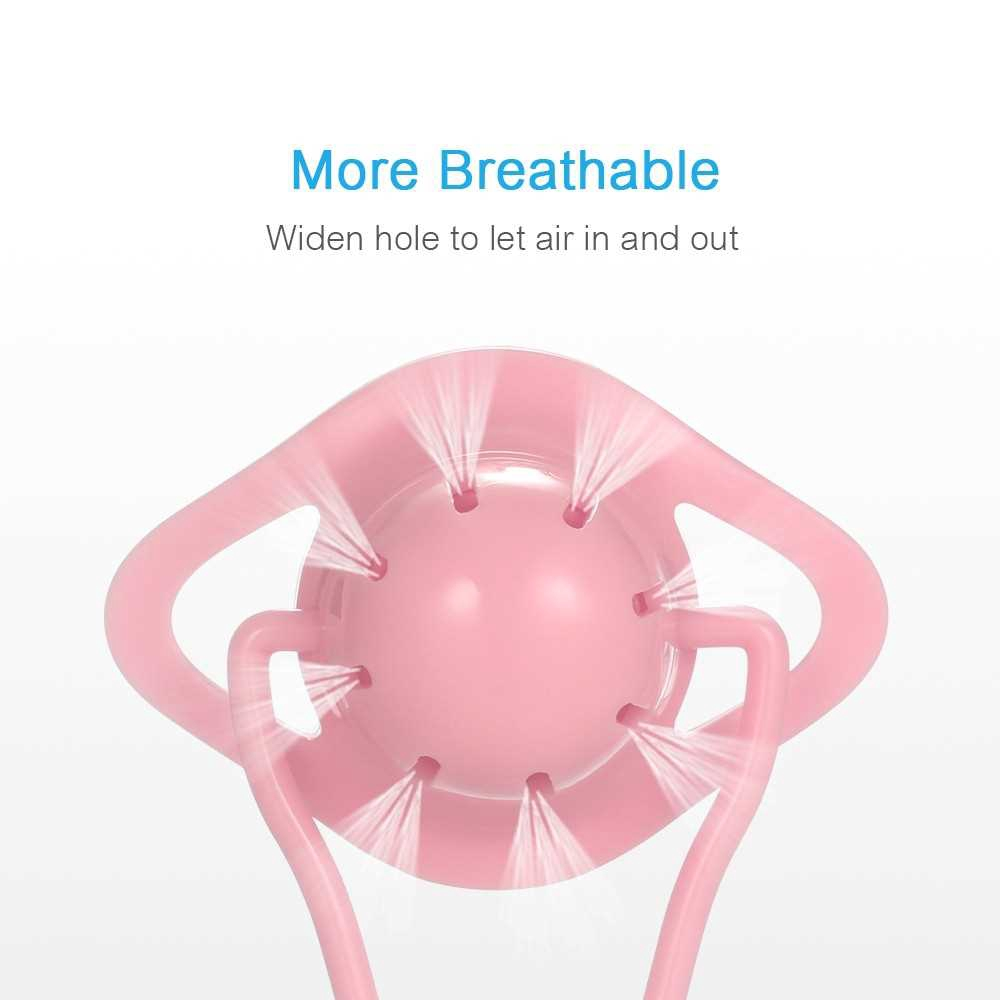Baby Pacifier Soft Silicone Soother with Ringing Beads and Storage Box Anti-dust Convenient Carry for Home Travel Pink