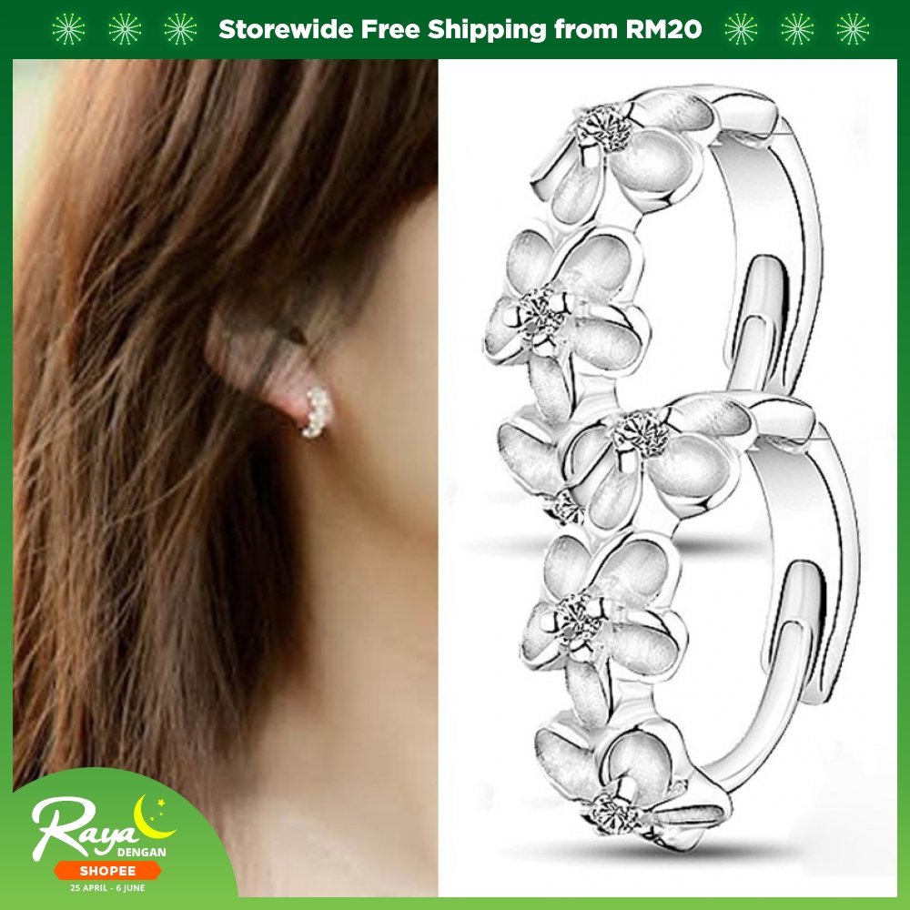 bcf7becfc New Clover Surgical Steel Silver Earring / Ear Studs | Shopee Malaysia