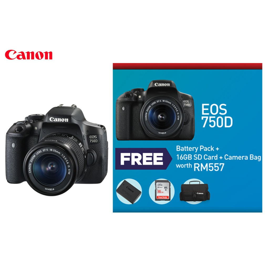 Canon Eos 750d Dslr Camera With Ef S 18 55mm F 35 56 Is Stm Lens 760d Body Only 760 Bo Shopee Malaysia