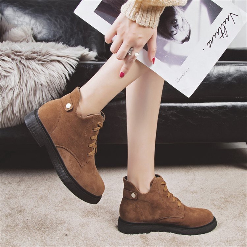 94b48728182 New Timber Nubuck Leather Booties Women Solid Casual Ankle Boots Fashion  Round Shoes for Female
