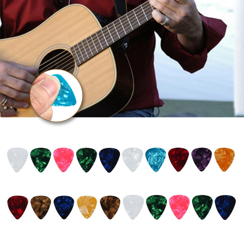 15 red 0.96mm celluloid plectrums picks for electric or acoustic guitar strings