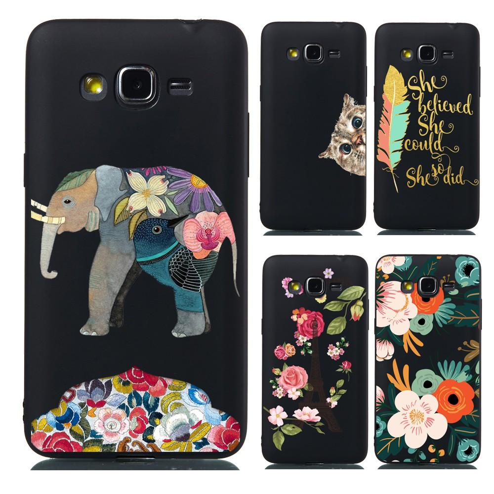 bda7eea31dd8 JY| Samsung Galaxy J2 Prime Floral Painted Black Casing Soft TPU Case Full  Cover