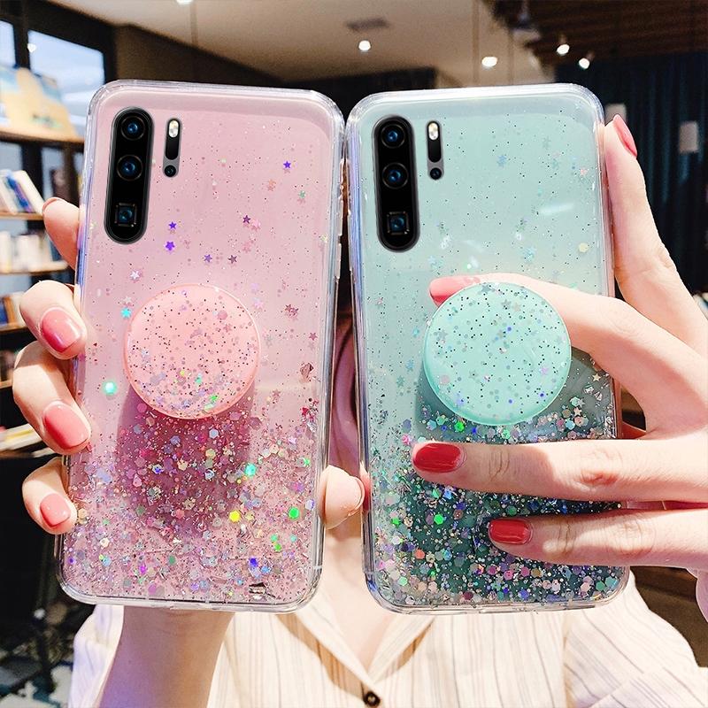 Glitter Bling Case Huawei P20 P30 Pro P40 Lite Honor 20 Pro Nova 5T 3e 4e 3i 3 2i Case Fashion Star Shine Same Color Finger Ring Stand Holder Cover