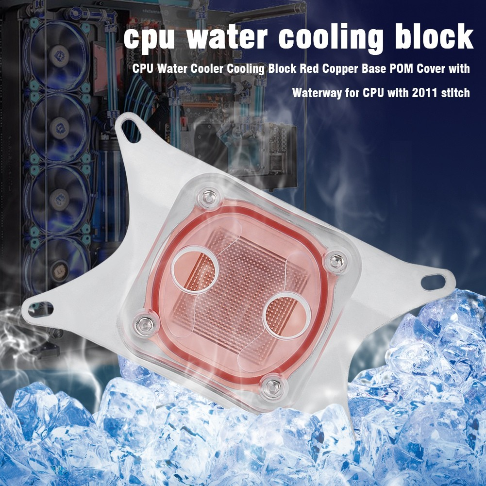 Computer CPU Water Cooler Cooling Block 50MM Red Copper Base POM Cover