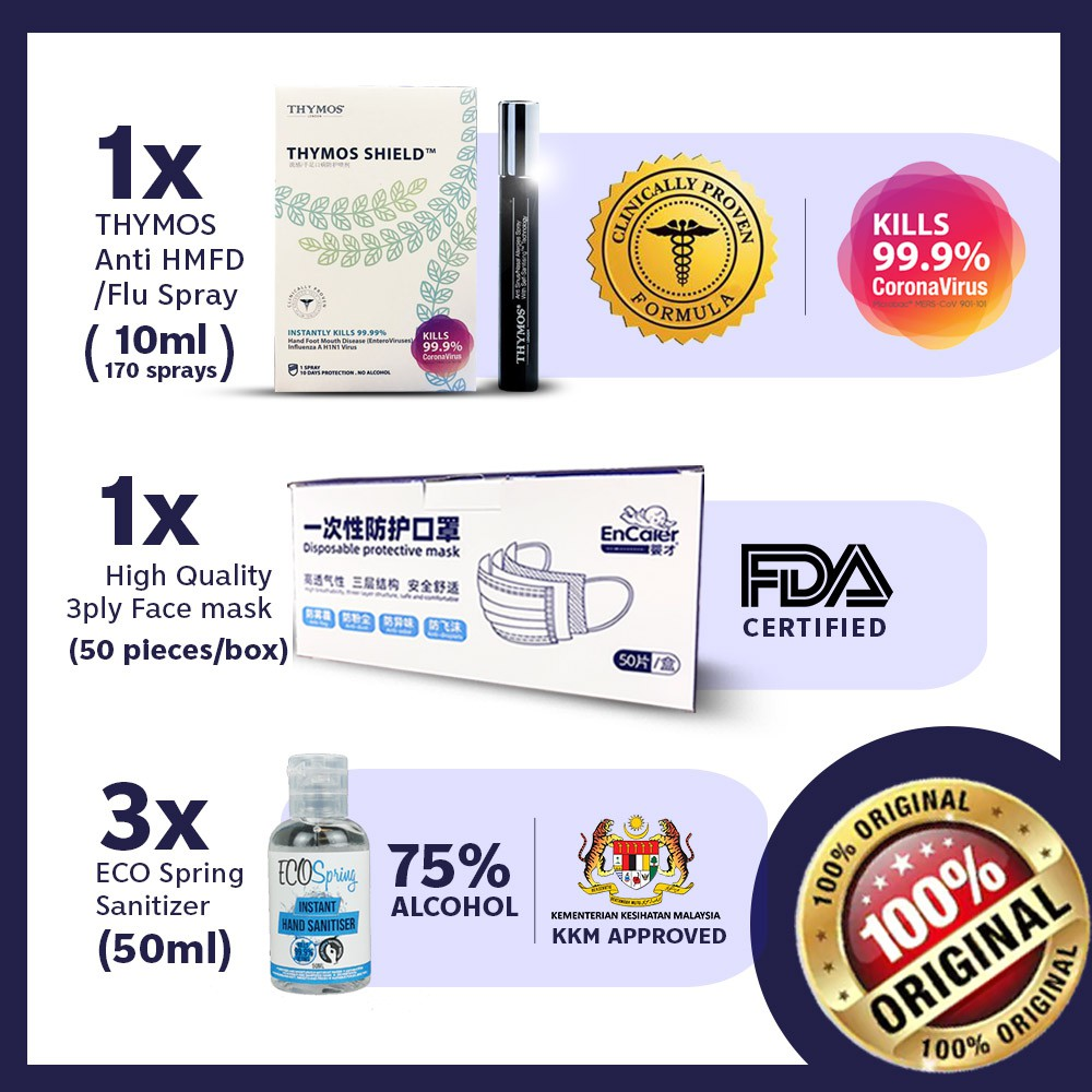 【World Most Powerful Shield】1x 10mL Thymos + 3x Ecospring 50mL + 50pc Face Cover