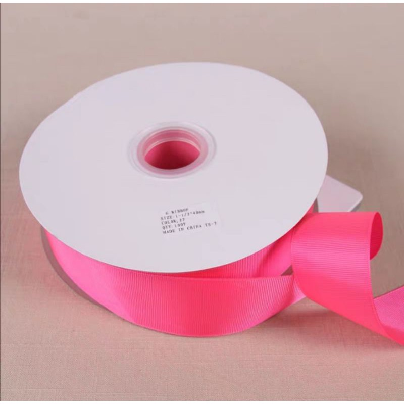 READY STOCK 38mm plain colour D. I. Y. ribbon 38mm罗纹织带D. I. Y. 材料