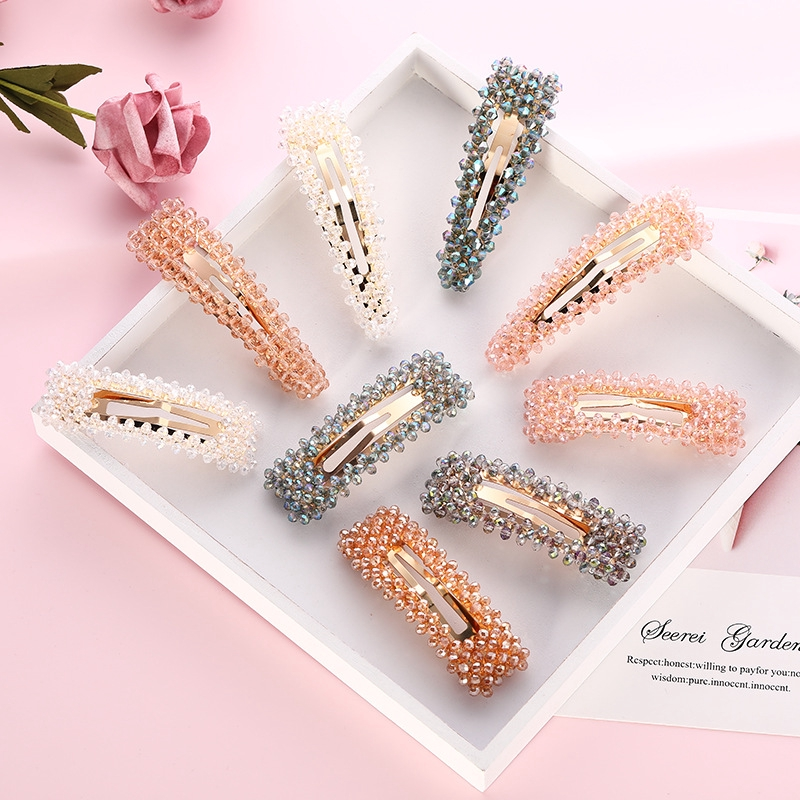 Women Slide Snap Hair Clip Barrette Grips Pearl Hairpin Crystal Pins Accessories