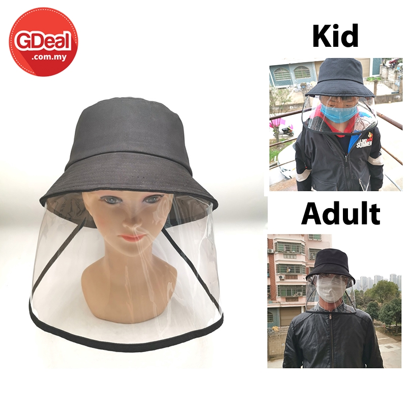 GDeal Kids Adult Protective Facial Mask Outdoor Anti-Saliva Splash Isolation Dust Coveralls Fisherman Hat