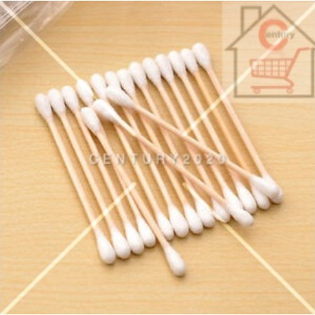 RIMEI Double-headed Cotton Swab Bamboo Cotton Swab Disposable Wooden Cotton Tip Applicator Swabs 100Pcs