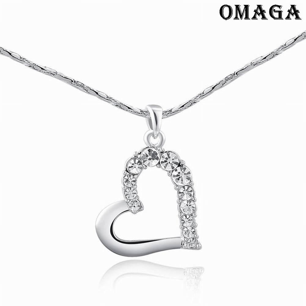 Fashion Silver Cubic Zircon Heart Shaped Pendant Necklace Earrings Jewelry Sets | Shopee Malaysia