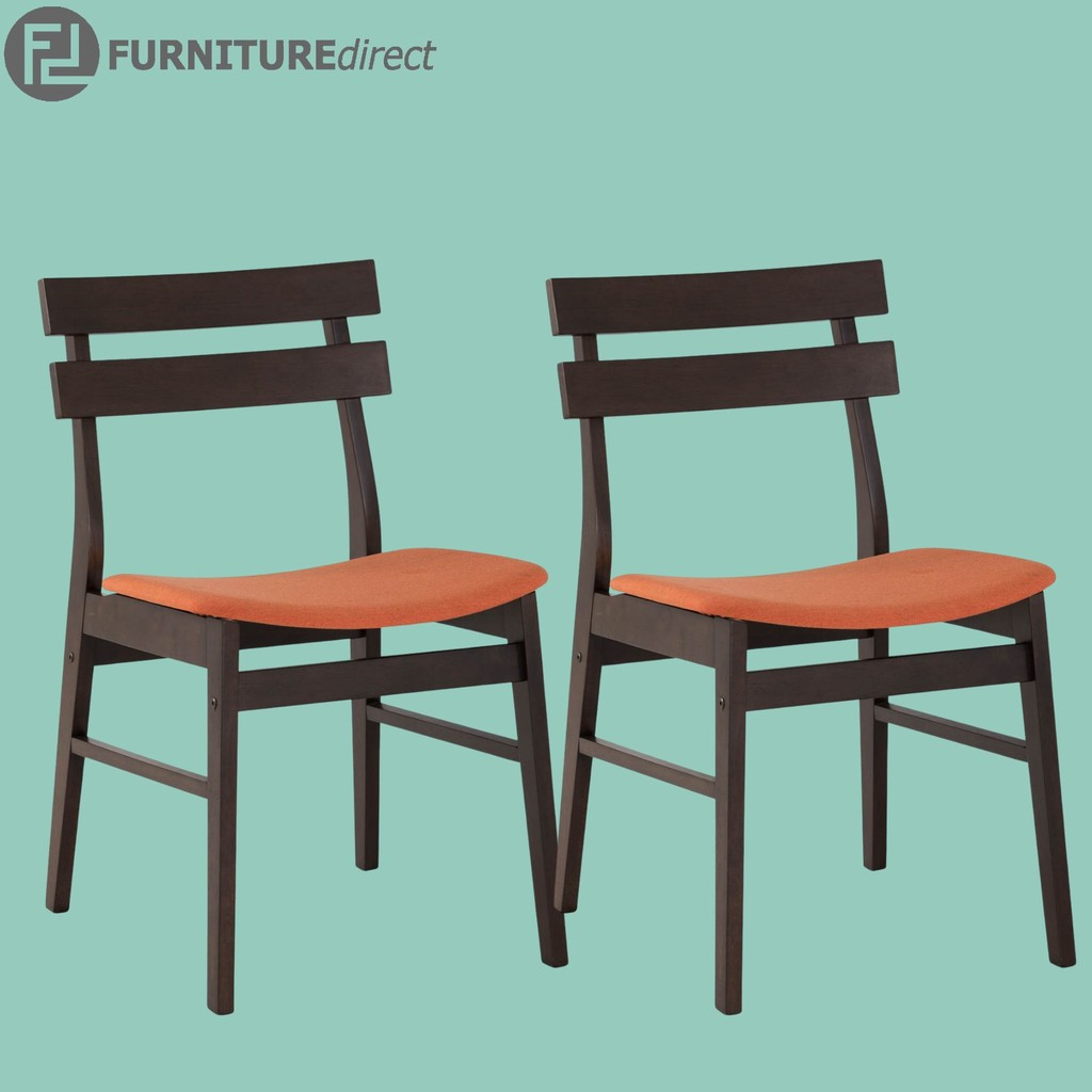 Pair of Augustus solid wood dining chair in fabric cushion/ kerusi makan/ dining chair