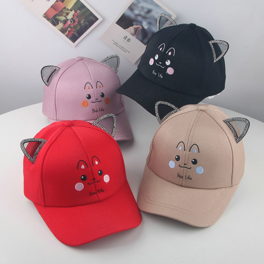 2c8816cfd Cute Kids Children Pearl Bowknot Cartoon Cat Peaked Hat Baseball Cap Sunhat