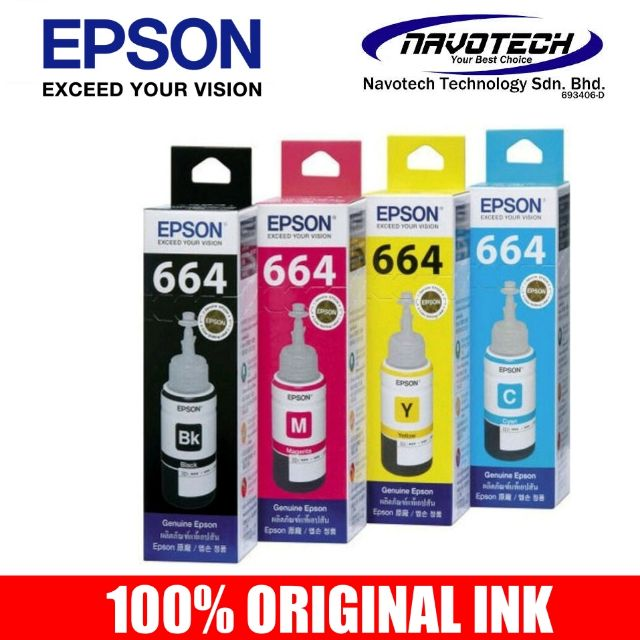 100% Original EPSON T664 70ml Full Set Refill Ink  664  L120/L210/L360/L385/L1300