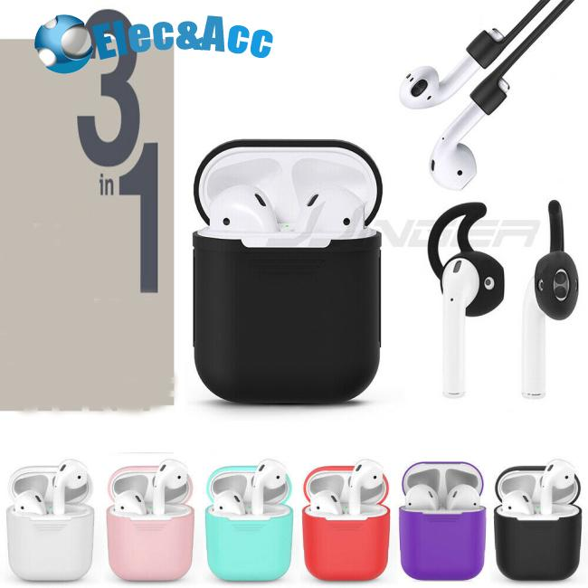 3 in 1 AirPods Silicone Case Cover Protective Skin for Apple