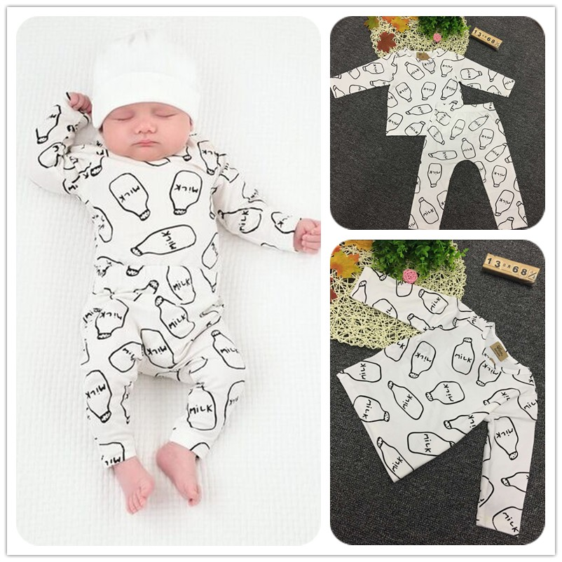 4d105251db40 Cotton Baby Clothing Baby Cute bottle pattern Outfits 2pcs