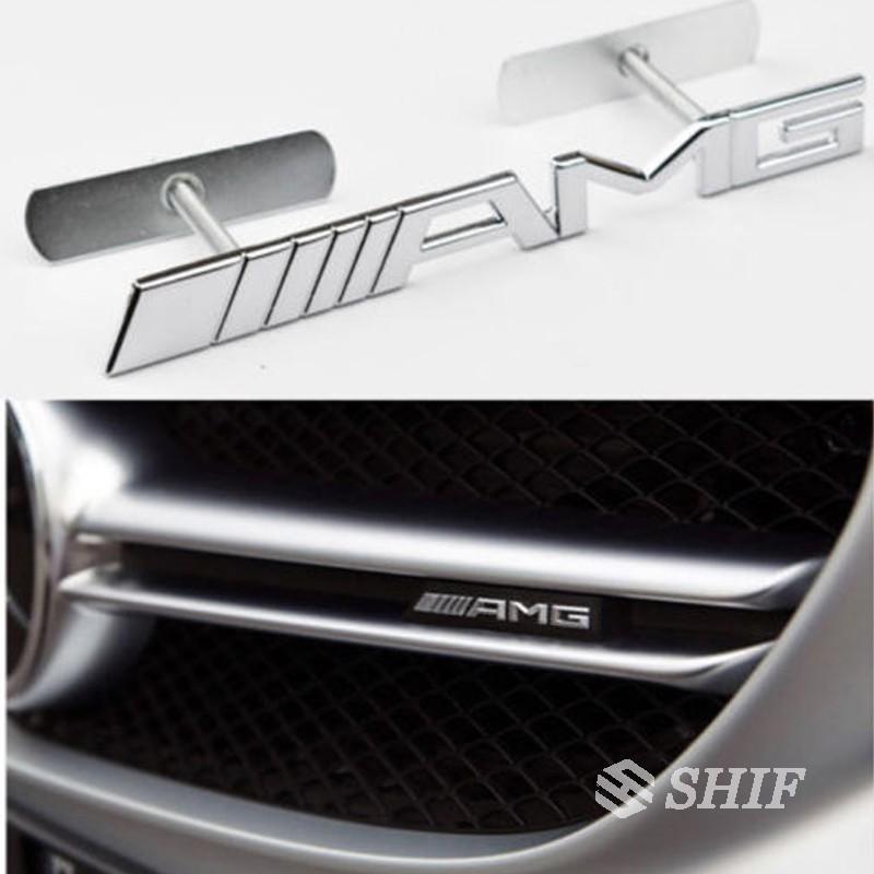 Silver AMG 3D Metal Racing Front Hood Grille Badge Emblem Decoration AMG Logo