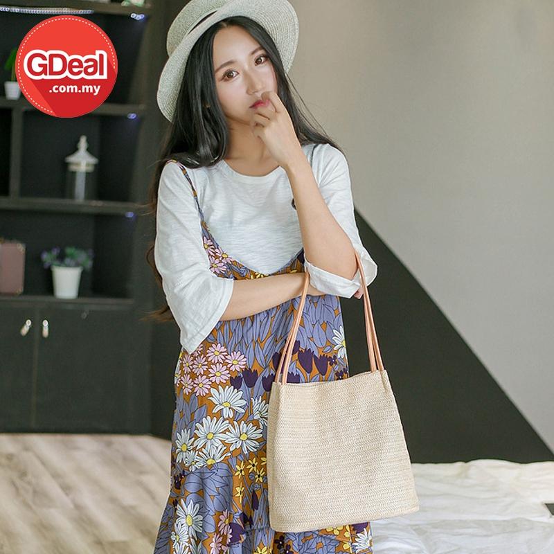 GDeal Korean Women Minimalist Shoulder Straw Bag Leisure Casual Bucket Bag Simple Handbag بيڬ وانيتا