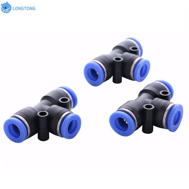 10pcs//set Pneumatic Tee Union Connector Tube OD 1//4 Inch 6mm Push In Air Fitting
