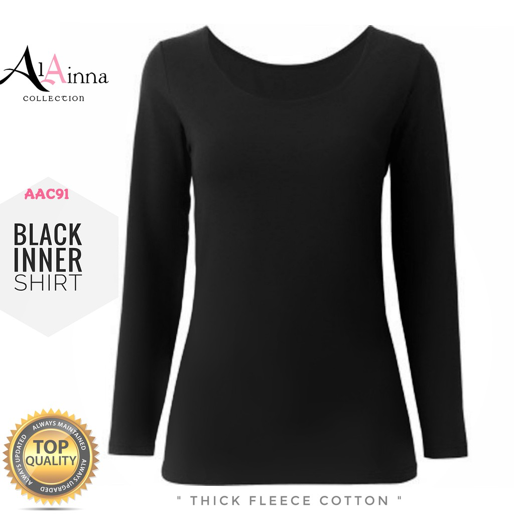 Black Inner Baju Al Ainna Aac91 Ready Stock High Quality Cotton Kemeja Hitam Shirt Shopee Malaysia