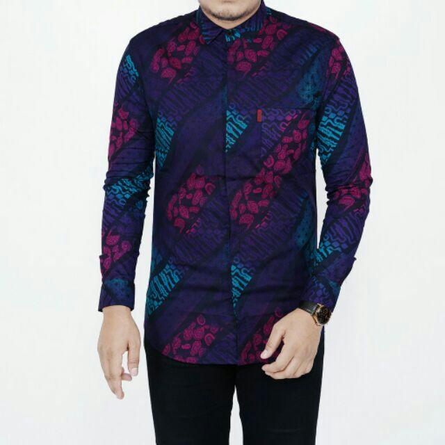 Grada Black Kemeja Batik Shirt Lengan Panjang Slim Fit