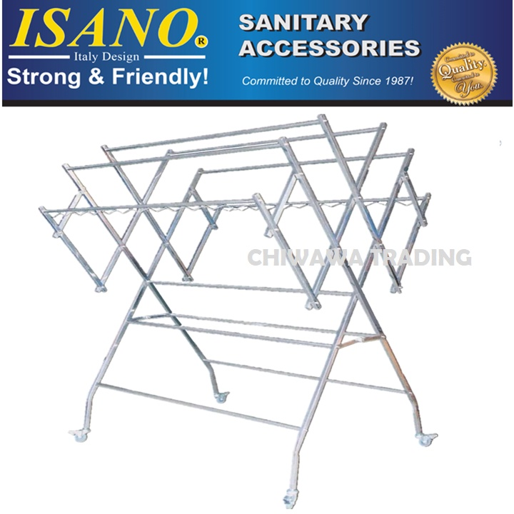 ISANO 1345DR W Type Stainless Steel Solid Clothes Drying Rack Cloth Shoe Hook 100kg GUARANTEE NOT RUST Rak Penyidai Baju