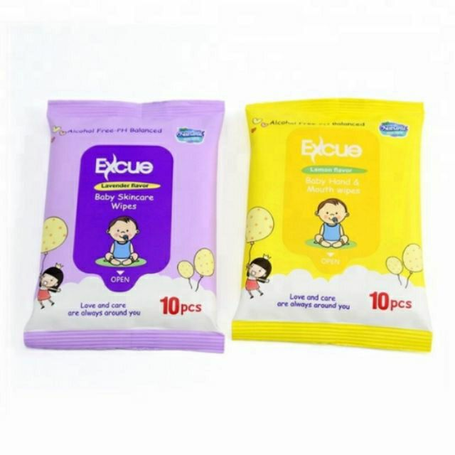 [HD] EXCUE BABY SKINCARE WET WIPES - 1Pack 10pcs x 4Pack