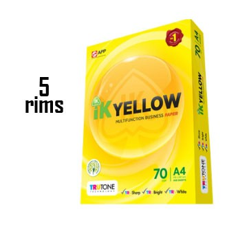 (5 Reams) A4 Paper 70gsm / 80gsm  IK Yellow Multi Purpose Business Paper 450 / 500 sheets.
