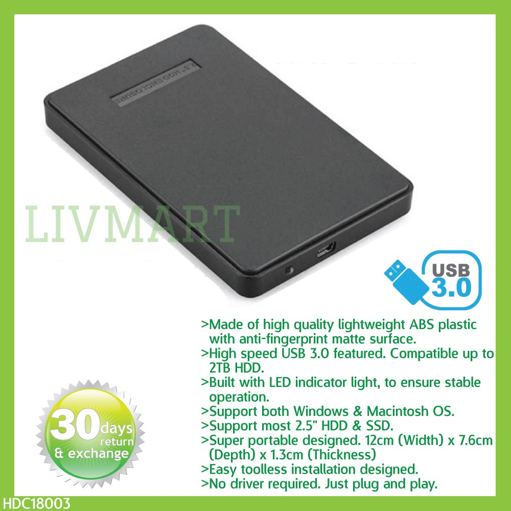"2 5"" toolless DIY USB 3 0 SATA external hard disk enclosure SSD/HDD case"