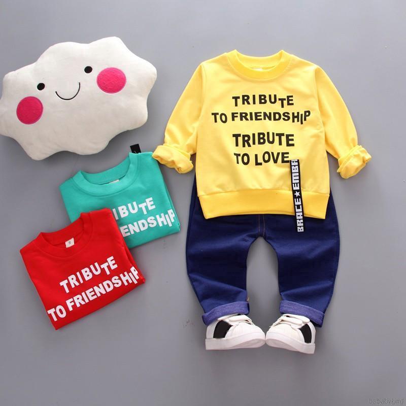 BABYKING Setelan Kaos T-Shirt Katun Bayi Laki-laki Lengan Panjang Print Tulisan + Celana Jeans