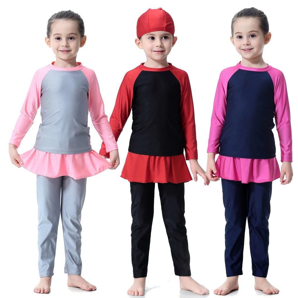 67de476289 Muslimah Swimwear Kids sets girls Swimming Suit Muslim Fashion Wear 2  pieces Set   Shopee Malaysia
