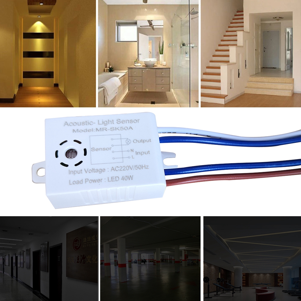 220V Auto ON//OFF Voice//Sound Light Control Sensor Detector LED Lamp Switch Loud