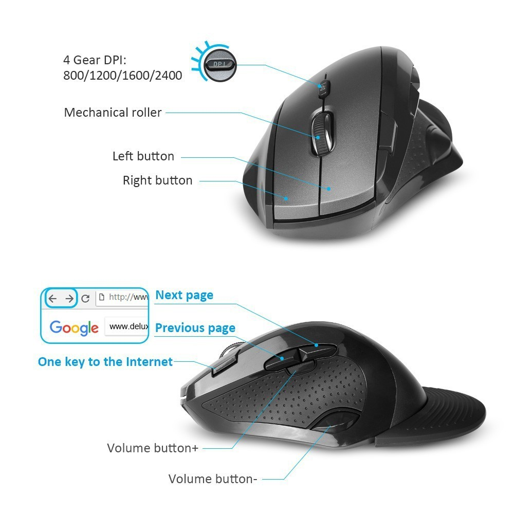 Bluetooth 3.0 Mouse,Ergonomics Optical Wireless Mouse,6 Button Gaming Mice,2400DPI Adjustable 800//1200//1600//2400