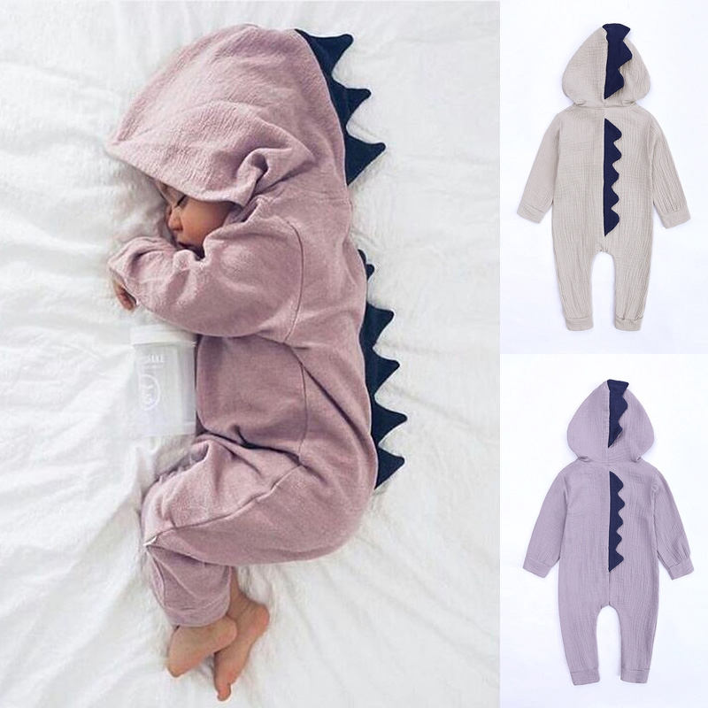 Newborn Infant Baby Kids Boys Girls Dinosaur Hooded Romper Jumpsuit Fancy Outfit