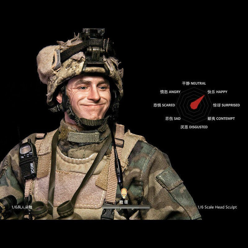 1//6 Soldier Male Head Expression for 12/'/' Figure HOT TOYS Fp-h-002