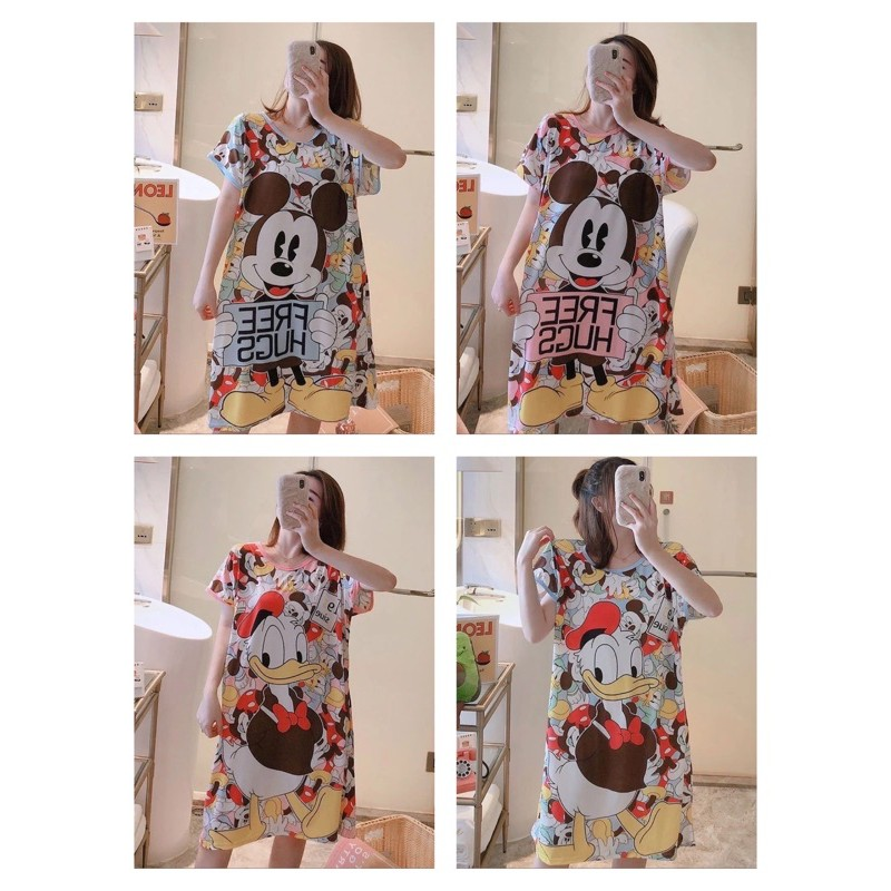 [READY STOCK] WOMEN COTTON SLEEPWEAR DRESS WITH PRINTED DESIGN - FREE SIZE (L-XL SIZE CUTTING)