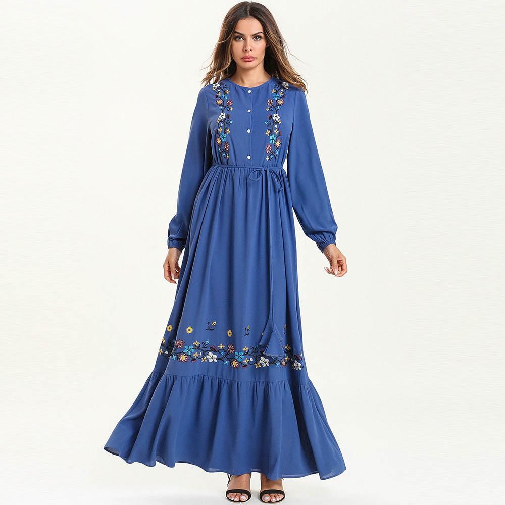 8ca69c4461 Robe large size women's embroidered long skirt Turkish Arab Robe muslim  dress