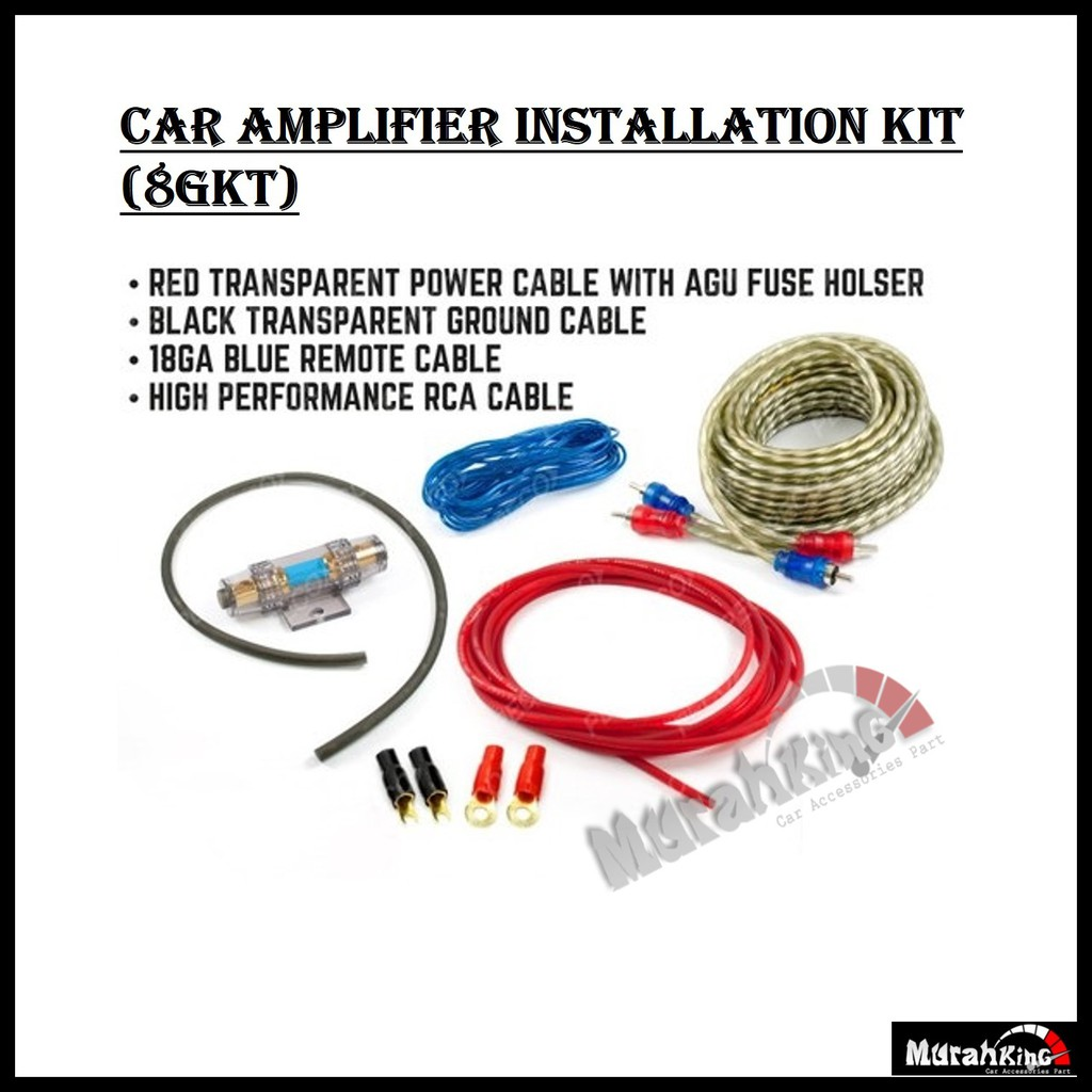 1500w Car Audio Subwoofer Sub Amplifier Amp Rca Wiring Kit Power Cable Agu Fuse Shopee Malaysia