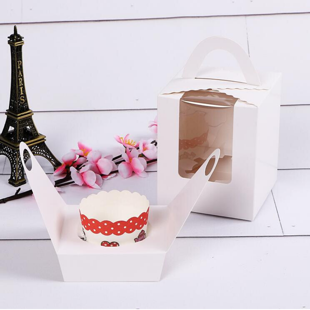 Cupcake Box With Window, Insert & Handle, For One Cupcake, 10 sets