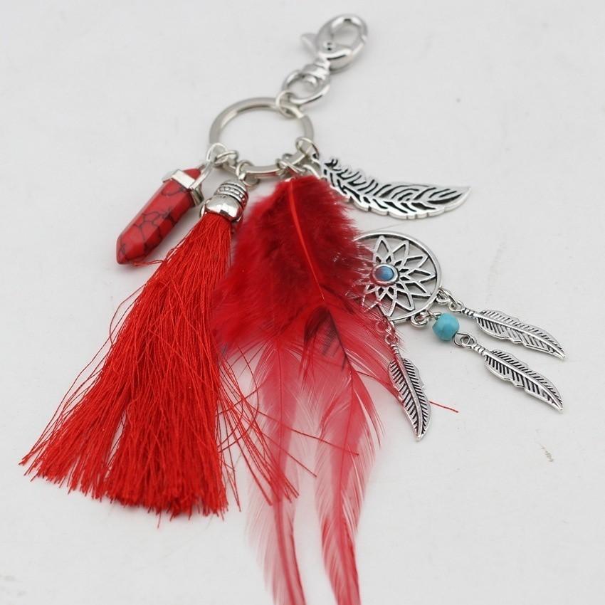 Vintage Dreamcatcher Palm Feather Classic Boho Keychain Keychain Accessories EG
