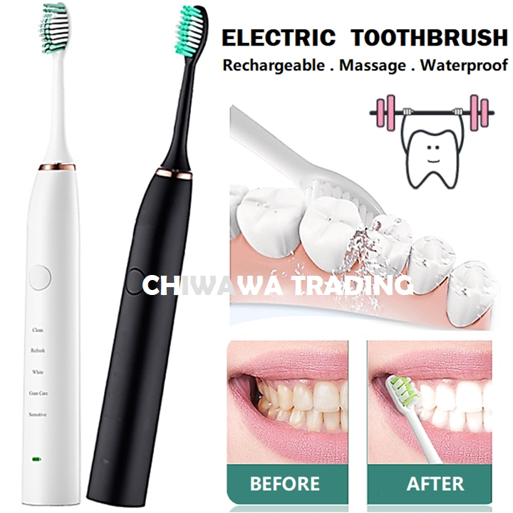 USB Rechargeable 5 Modes Ultrasonic Cross Action Waterproof Electric Toothbrush Clean Tooth Brush