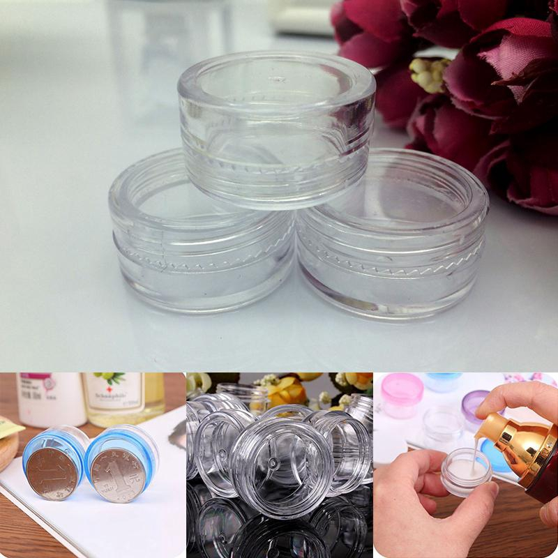 b1779a152128 50 Pcs Travel Cosmetic Sample Containers 5g Plastic Pot Jars (Clear,Round)