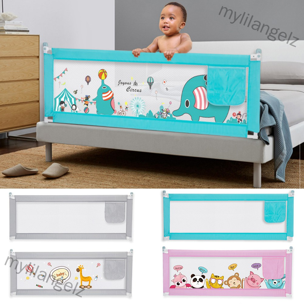 Mylilangelz Double Buttons Vertical Lifting Bed Fence Playing Safety Gate for Kids Baby Infant