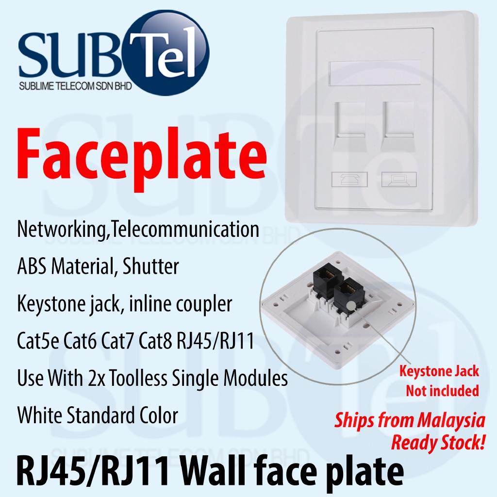 Wall Socket Dual Network LAN RJ45 Cat6 /& RJ11 Cat3 Telephone Outlet Faceplate