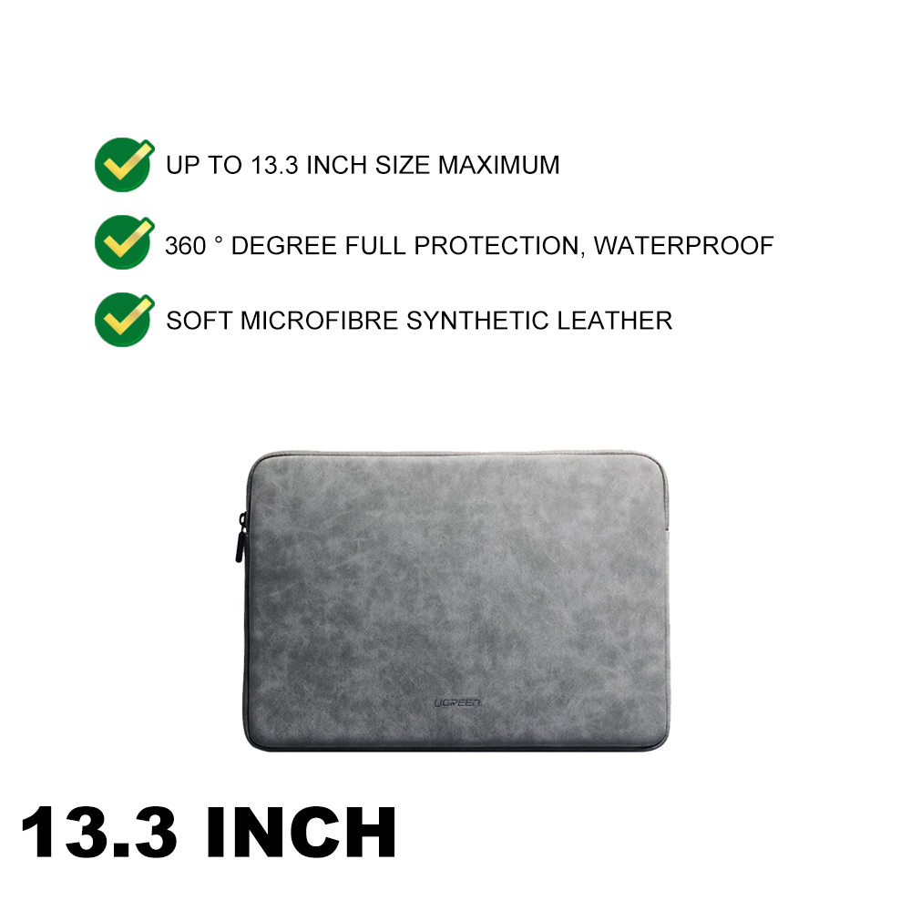 UGREEN 13.3 15.4 Inch Laptop Case PU Suede Leather Soft Padded Zipper Cover Sleeve Case Macbook Msi Acer Dell Pc Laptop